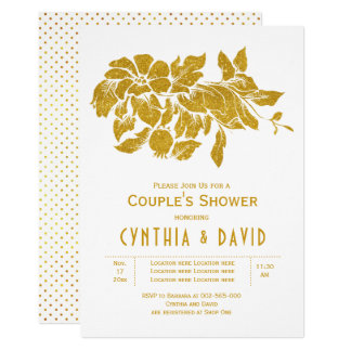 Gold glitter flowers floral wedding couples shower カード