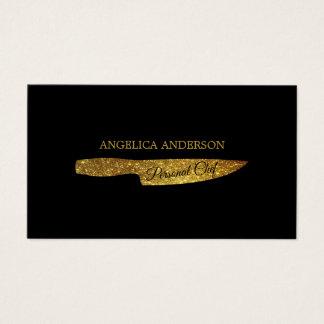 Gold Glitter Knife Business Card 名刺