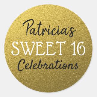 Gold Glitter Sweet 16 Birthday ラウンドシール