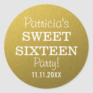 Gold Glitter Sweet 16 Party Favors ラウンドシール