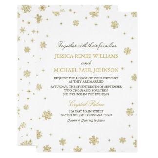 Gold Glitter Winter Wonderland Wedding カード
