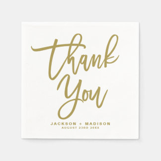 Gold Hand Lettered Script Thank You Wedding スタンダードカクテルナプキン