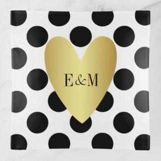 Gold Heart and Polka Dots Couple's Monogram トリンケットトレー