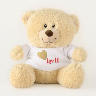 Gold Heart I Love You テディベア