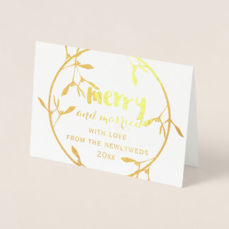 Gold Mistletoe Merry and Married Photo Foil Card 箔カード