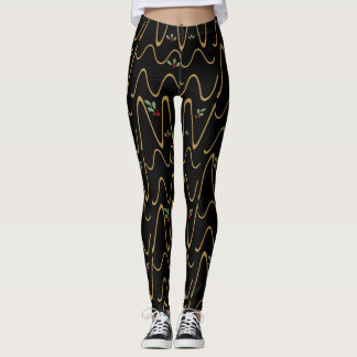 Gold Scribbles & Holly Berries, Holiday Leggings! レギンス