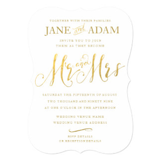 Gold Typography Wedding Inviteエレガントな氏及び夫人 12.7 X 17.8 インビテーションカード
