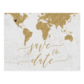 Gold World Map Destination Wedding Save the Dat ポストカード
