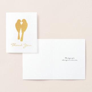 Golden Anniversary Lovebirds Thank You 箔カード