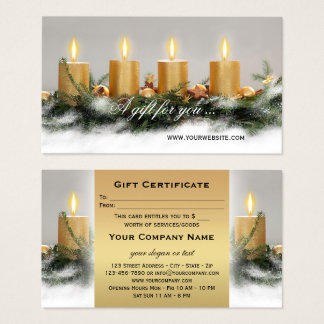 Golden Candles Christmas Gift Certificate Template 名刺