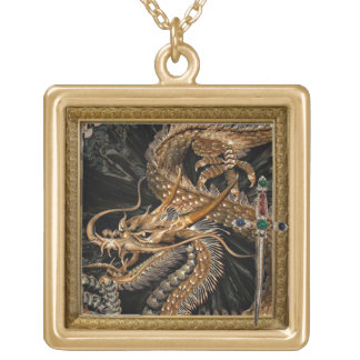 golden dragon and sword necklace ゴールドプレートネックレス