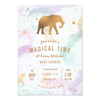 Golden Elephant with Pastel Watercolor Baby Shower カード