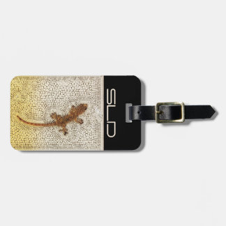 Golden gecko with your own initials ラゲッジタグ