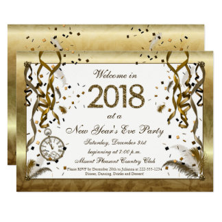 Golden New Years Eve Invitations カード