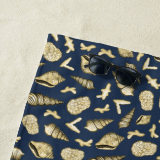 Golden Shells and Coral on Navy Beach Towel ビーチタオル