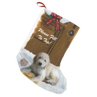 Goldendoodleのメリークリスマス スモールクリスマスストッキング