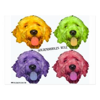 Goldendoodlesの規則4色 ポストカード