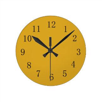 Goldenrod色の黄色の台所柱時計 ラウンド壁時計