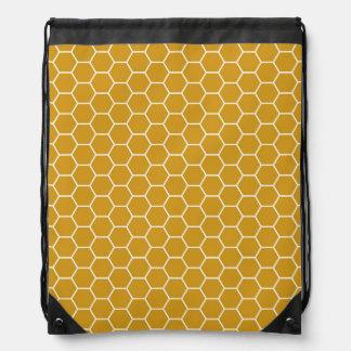 Goldenrod黄色く幾何学的な蜜蜂の巣の六角形Patte ナップサック