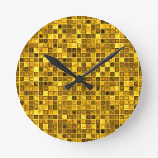 Goldenrod 「水を含んだ」モザイク・タイルパターンの陰 ラウンド壁時計