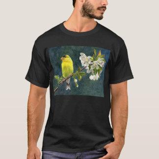 Goldfinchおよび桜 Tシャツ