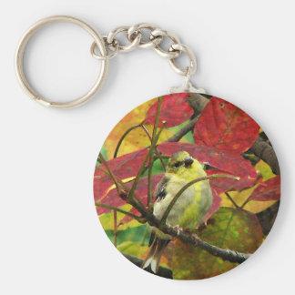 Goldfinchおよび紅葉 キーホルダー