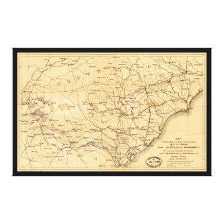 Goldsboroへの内戦のシャーマンの3月の地図アトランタ キャンバスプリント