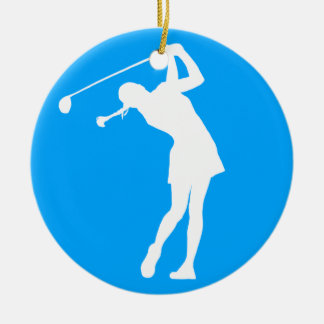 Golfer Silhouette Ornament w/Name女性青 セラミックオーナメント