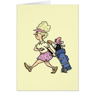 Golfer Tshirtsおよびギフト女性 カード