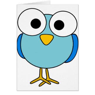 Googly注目された鳥のメッセージカード カード