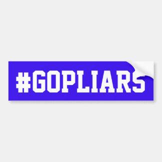 """""""#GOPLIARS """"が付いている青いバンパーステッカー バンパーステッカー"""