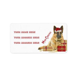 Gorgeous German Shepherd Holiday Address Labels ラベル