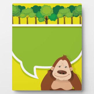 gorilaおよび木とのボーダーデザイン フォトプラーク