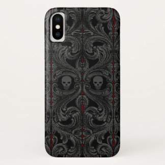Goth Gray Ornament with Skull iPhone X ケース