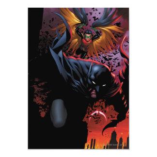 Gotham上のバットマン及びロビン飛行 12.7 X 17.8 インビテーションカード