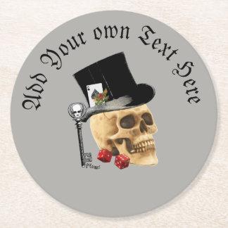 Gothic gambling grooms skull ラウンドペーパーコースター
