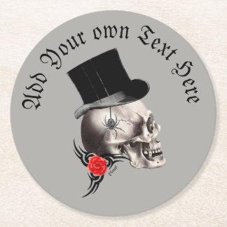 Gothic groom skull ラウンドペーパーコースター