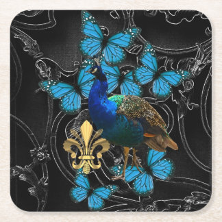 Gothic Peacock and butterflies スクエアペーパーコースター