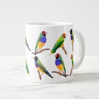 Gouldianのフィンチのペアカップ ジャンボコーヒーマグカップ