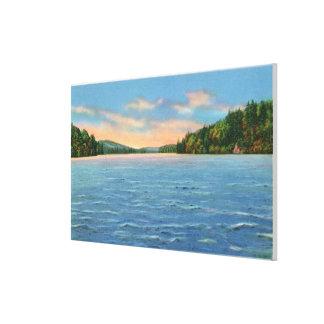 Govt.より低いSaranac湖の自由なキャンプ場の眺め キャンバスプリント