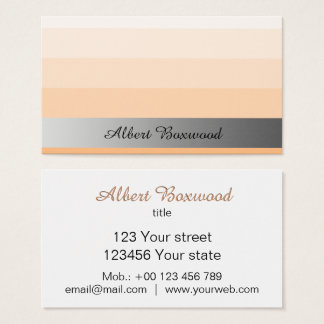 Gradient Peach with Silver Banner Custom Text 名刺