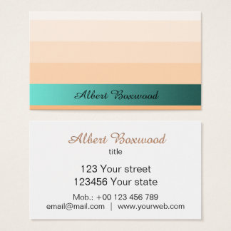 Gradient Peach with Teal Banner Custom Text 名刺