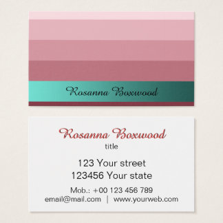 Gradient Rose Red with Teal Banner Custom Text 名刺