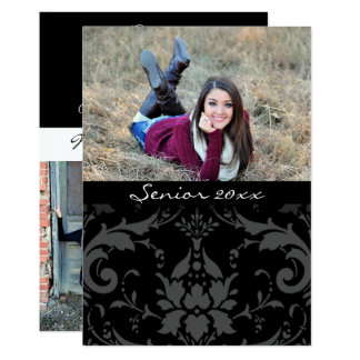 Graduate 20xx Personalized Black & White Damask カード