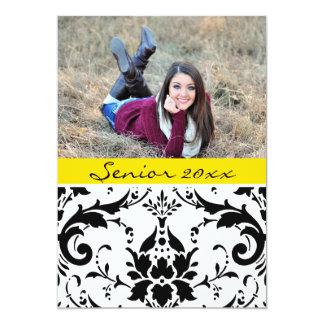 Graduate 20xx Personalized Black & Yello Damask カード