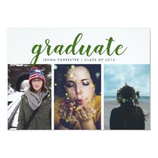 Graduate Script Three Photos Watercolor Green カード