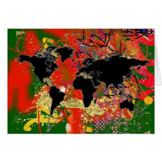 Graffitedの世界地図 グリーティングカード