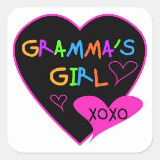 Grammaの女の子のTシャツ、マグ、ボタン、ケース、帽子 スクエアシール