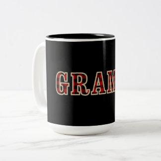 GRAMPSの素朴で赤い黒いバッファローのレジ係の正方形 ツートーンマグカップ