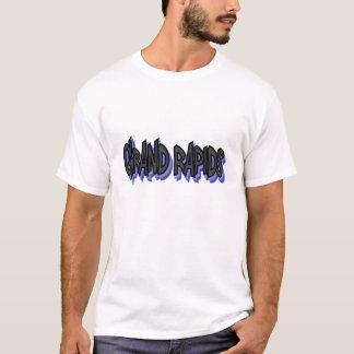 Grand Rapidsの落書きの基本的なTシャツ、大きい白 Tシャツ